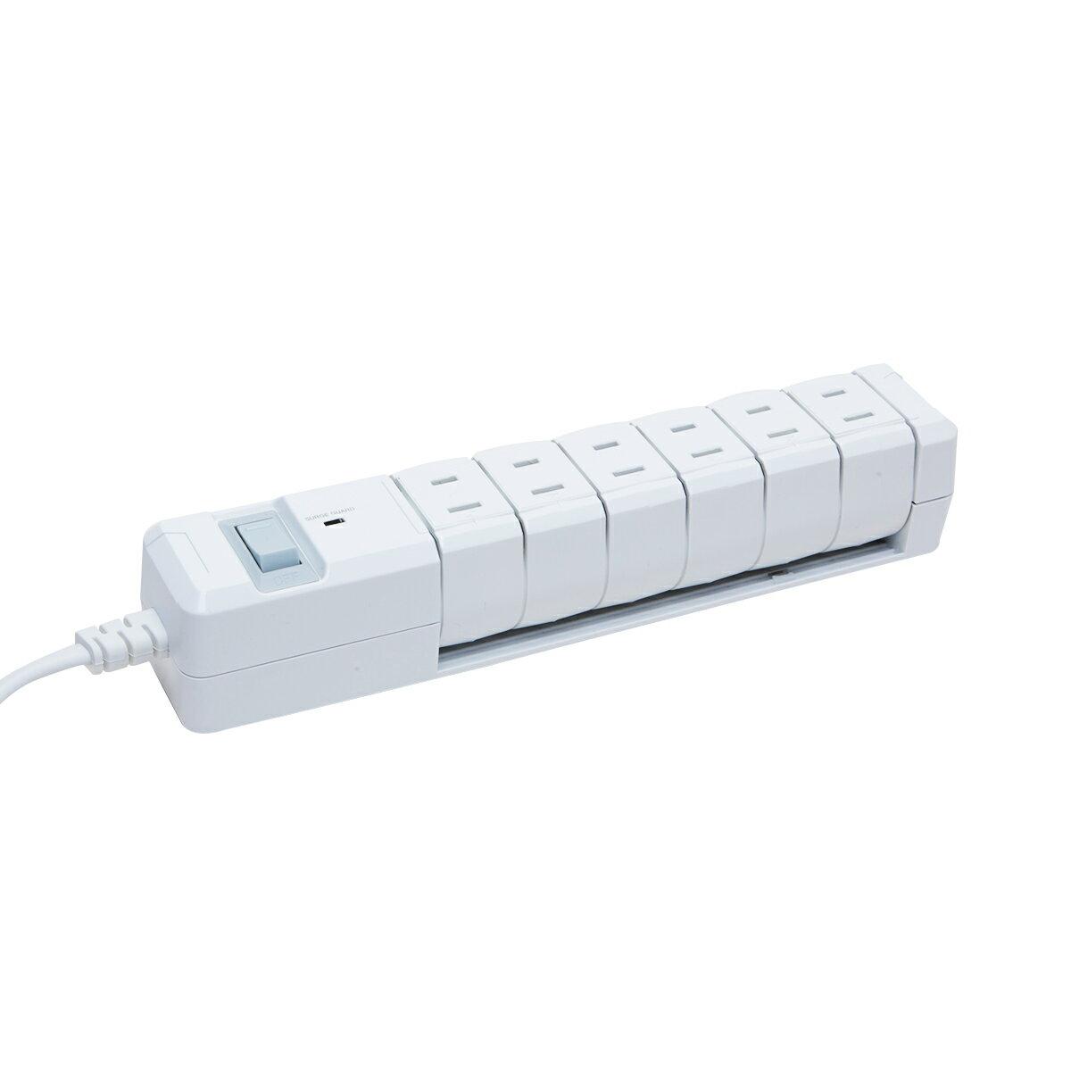 電源タップ 回転 おしゃれ インテリア デザイン TAPKING タップキング ホワイト/ネイビー AC6個口 雷サージガード 絶縁キャップ付 延長コード 2m OAタップ