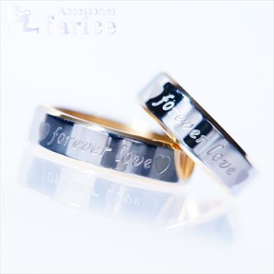 ステンレスメッセージペアリング forever love(永遠の愛)&ツインハートデザイン 18K仕様ゴールドカラー【6mm幅】