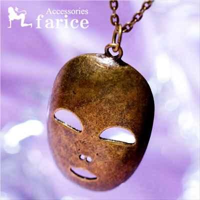 鉄仮面(アイアンマスク)モチーフ 西欧風デザイン アンティークゴールドカラー メンズ ペンダント ネックレス