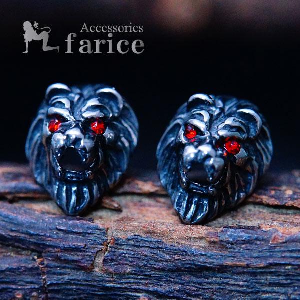牙を剥く百獣の王ライオン(獅子)モチーフ ブラックキュービックジルコニア装飾アイズ 立体型リアルデザイン メンズ ステンレス316L スタッドピアス
