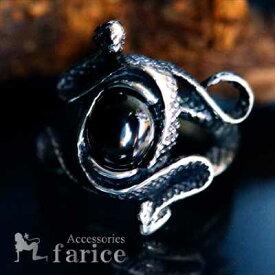 ブラックオニキスカラー・キュービックジルコニア装飾 ダブルスネーク(蛇)スパイラルデザイン メンズ ステンレス リング