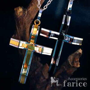 ルード系 クロス(十字架)モチーフ 2カラーパーツ立体型 ジオメトリック(幾何学模様)デザイン メンズ ステンレス316L ペンダント ネックレス【ゴールドorブラック】