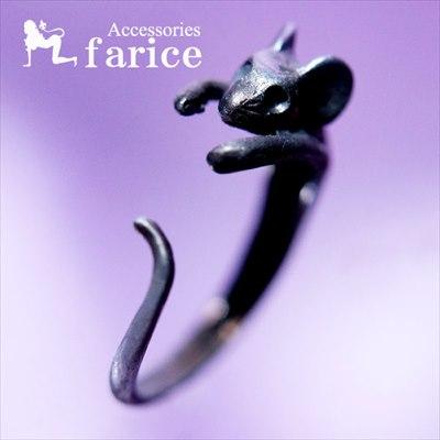 マウスモチーフ 癒し系・しがみつくネズミデザイン アンティークシルバーカラー レディース&メンズ フリーサイズ アニマル リング