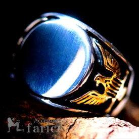 葉巻(シガー)消し・鏡面光沢丸型プレート アメリカンイーグル・サイドレリーフ装飾 ゴールドカラーエンブレム(鷲の紋章)デザイン メンズ ステンレス リング