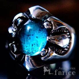 ダークターコイズブルー・グラスストーン装飾 メカニカル・クロー(爪)&ジオメトリック(幾何学模様)彫りデザイン メンズ ステンレス リング