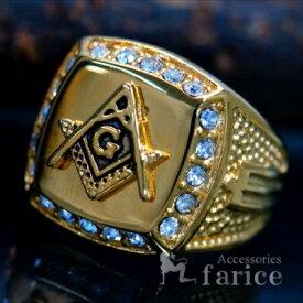 フリーメイソン 秘密結社 クリア ビーズ イエローゴールド コンパス ゴッド 神 スクエアー ステンレス メンズ リング 指輪