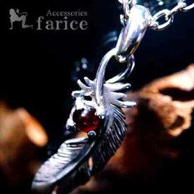 フェザー(羽)モチーフ ガーネットワンポイント装飾 メンズ インディアンジュエリー シルバー925 ペンダント ネックレス