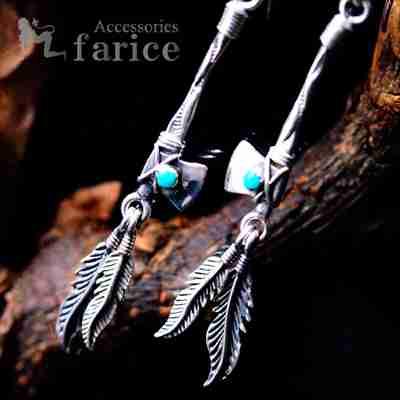 天然石 ターコイズ装飾 バトルアックス(戦斧/トマホーク)&2フェザー(羽)ドロップデザイン メンズ&レディース インディアンジュエリー シルバー925 アメリカンフックピアス