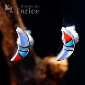 三日月(クレッセントムーン)デザイン ターコイズ・オニキス・レッドコーラル(珊瑚)・ホワイトシェル装飾 メンズ&レディース インディアンジュエリー シルバー925 スタッドピアス