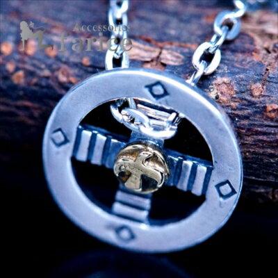 メディスンホイール(聖なる環/十字) イーグル(鷲)立体装飾 イエローゴールドバイカラー メンズ&レディース インディアンジュエリー シルバー925 ペンダント ネックレス
