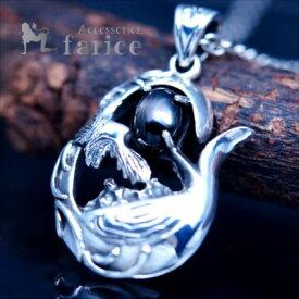イーグル&鷲の巣デザイン 天然石 ブラックスター装飾 メンズ&レディース インディアンジュエリー シルバー925 ペンダント ネックレス