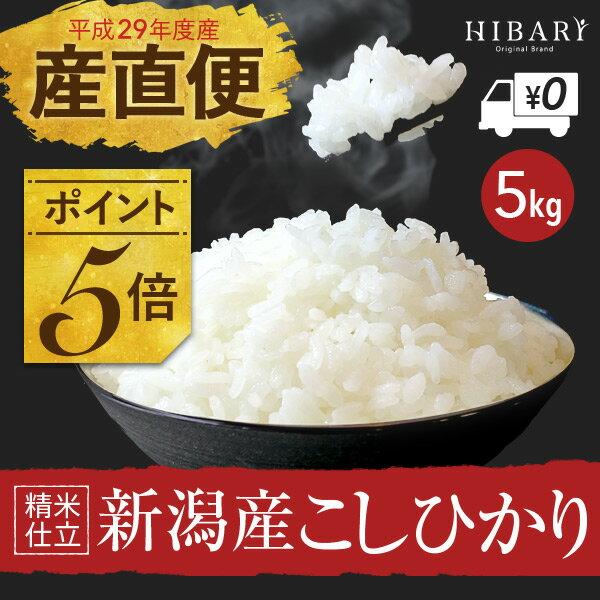 新潟産 コシヒカリ 5kg 送料無料 新潟県産 29年産 米【あす楽】選べる 白米 玄米