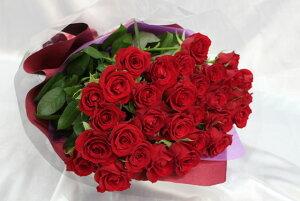 真紅のバラ30本の花束