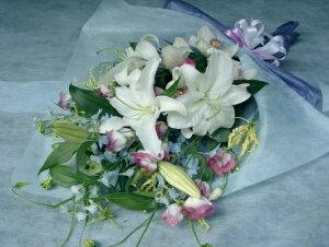 お供え花束(カサブランカ、黄花グロリオサメイン)