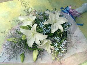 カサブランカ&ブルースターの花束