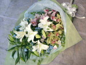 お供え花束カサブランカとシンビジュームメイン(L)