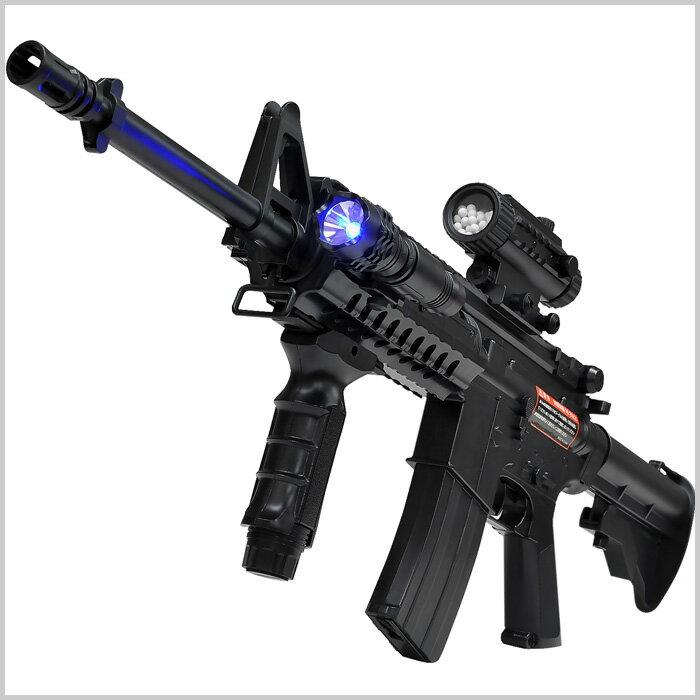 電動ガン 18歳以上 M4A1モデル 安全装置 【 バイオBB弾付属 】【 ブルーライト内蔵 】 バッテリー フルセット スコープ型 弾倉 BB弾2000発付属 ブルーライトブラック 黒