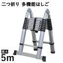 送料無料 はしご 伸縮 脚立 梯子 アルミ 製 折りたたみ 保証付き 安全ロック 搭載 アルミ製 5m 500cm ハシゴ 梯子 軽…