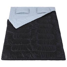 ダブルサイズ シェラフ 寝袋 2人用 まくら 枕 封筒型 丸洗い可 分離 連結可能 キャンプ アウトドア 大判 コンパクト 夏用 マット 軽量 子供 子ども 大人 ファミリー テント 収納 おすすめ 収納袋 ファスナー付き 送料無料
