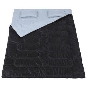 ダブルサイズ ダブル シェラフ 寝袋 2人用 まくら 枕 封筒型 丸洗い可 分離 連結可能 キャンプ アウトドア 大判 コンパクト 夏用 マット 軽量 子供 子ども 大人 ファミリー テント 収納 おすす