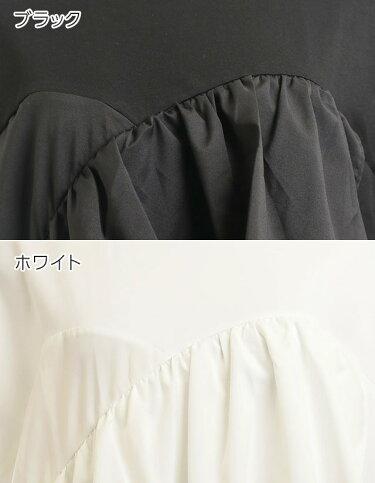 [M便◎]胸元フリルでちょっぴりガーリー[膝丈ひざ丈ひざ上ミニAラインIラインまっすぐ寸胴半袖ゆったり大きいサイズLLLXL][ワンピース]チェストフリルミニワンピース[190639]