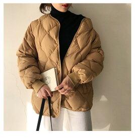 ジャケット コート レディース キルティングジャケット ダウンジャケット 中綿ジャケット キルティングアウター アウター ライトアウター 防寒 羽織り ノーカラー 体型カバー 秋冬 大きめ カジュアル 韓国ファッション