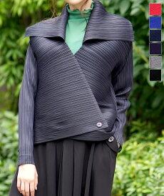 送料無料 プリーツ ジャケット アウター カラー ショート 丈 変形 クリスタルプリーツ 色 ロイヤルブルー 紫 紺 黒 コーラル フォーマル ネイビー長袖 しわになりにくい M - Lサイズ 大きいサイズ 30代 40代 50代 60代 ファッション キャッシュレス 還元