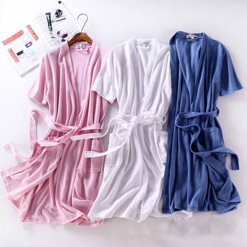 レディース バスローブ 綿 半袖 夏用 薄手 ホテル メンズ ワッフル バスローブ 男女兼用 ナイトガウン