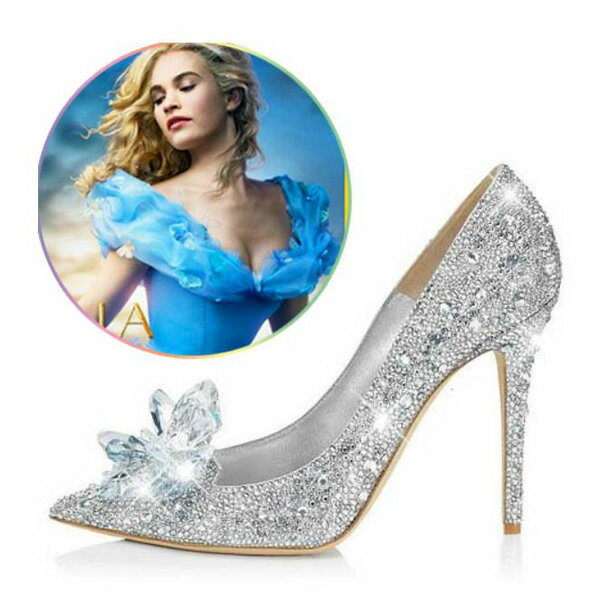 結婚式 パンプス シンデレラ ガラスの靴 キラキラ ウェディングシューズ ハイヒール レディース ラインストーン パンプス パーティー 演奏会 舞台使用 美足シューズ