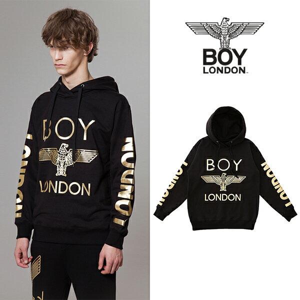 """【BOY LONDON 日本公式販売店】""""LONDON"""" Printed on Sleeves Hoodie - BLACK BG3HD028 メンズ カジュアル 男性 メンズファッション"""