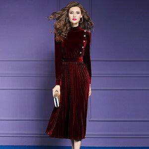 パーティドレス ♪セレブファッション ロングワンピース フォーマルドレス ベロア プリーツ シンプル 体型カバー 他と被らない 大人エレガント 着痩 大きいサイズあり 結