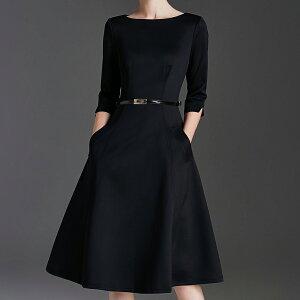 パーティドレス ♪セレブファッション フレアワンピース フォーマルドレス ブラック ベルト付き シンプル 体型カバー 他と被らない 大人エレガント 着痩 大きいサイズあり