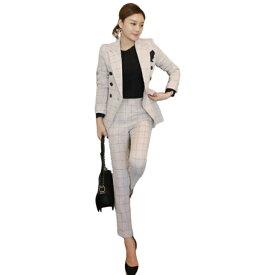 c3f6ddbe904d7 セレブファッション 大人エレガント パンツスーツ 2点セット 着痩 優雅 スリムジャケット レディース