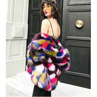 Colorful fake fur coat fur jacket