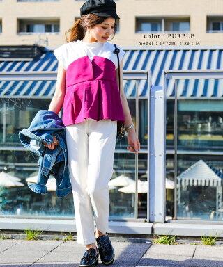 メール便対応ビスチェ付きドッキングTシャツレディースMサイズ2018SSビスチェストライプタックフレアレイヤード風Tシャツ半袖韓国マリンコンサバコルセットベストレイヤードデザインカットソーシンプルブラウストップスオルチャンセットアップ