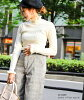 FashionLetter frill rib knit tops knit Lady's pullover plain fabric high neck turtle Melo plum low-neck long sleeves layering feminine lovely mature popular trendy black black ivory gray mustard 2018 AW Shin pull in the fall and winter