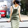 The pocket slit spring and summer when cotton twill jumper Jean ska salopette all-in-one overall dress spring clothes spring clothing Lady's bottoms rompers camisole dress long maxi length beige khaki black cotton is lovely mature