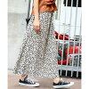 Lady's skirt trip resort waist rubber easy M long length casual clothes Shin pull きれいめ black and white ivory FashionLetter with the Leo gone DOS cart long flared skirt lining in the spring and summer