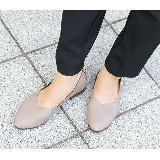 【日本製】スカラップパンプスラウンドトゥパンプスバレーシューズ靴ローヒールフラットシューズバレエシューズコンフォートシューズ履きやすい軽いぺたんこ旅行靴会社オフィス立ち仕事パンプス疲れない合皮レザー20代30代40代50代秋冬
