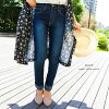 The bottom color leggings jeans which lengthen which FASHION LETTER skinny pants denim twill Lady's M L LL 3L 4L パンツストレッチテーパードパンツレギパンボトムス beauty leg plain fabric easy 大 comes, and are, and are light relaxedly in a size waist rubber long underwear oar sea