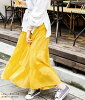It is spring clothes trend mustard yellow pink purple purple in tiered skirt long length flared skirt volume waist rubber big size Lady's maxi vacation resort trip bottoms maxi length plain fabric Shin pull cotton unhurried spring and summer