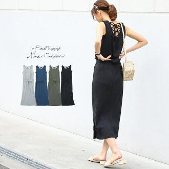 As an inner for back design maxi dress resort trip maxi length long length trench coat G Jean spring outer ◎ dress no pickpocket short sleeves easy lady's cut-and-sew dress Shin pull Korea fashion affordable price plain fabric black M in the spring and s