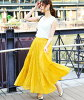It is spring clothes trend mustard yellow pink purple purple in tiered skirt long skirt long length flared skirt volume waist rubber Lady's maxi vacation resort trip bottoms maxi length plain fabric Shin pull cotton relaxed spring and summer