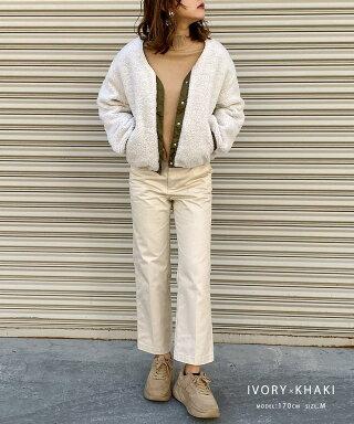 リバーシブルボアブルゾンレディースカジュアルボアふわふわコートボアブルゾンジャケットミリタリージャケットMA-1大きいサイズバルーンスリーブビッグシルエットフード無しVネックポケットプードルファーボアフリース2019AW秋冬韓国ファッション