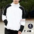 スウェットメンズパーカーメンズファッションオーバーサイズモノトーン切替ジップパーカーハーフジップスタンド衿ジャケットスエットトップス白黒