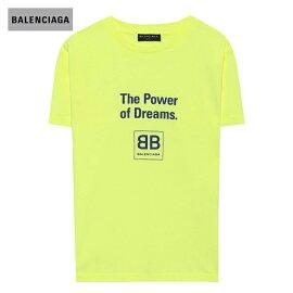 "BALENCIAGAバレンシアガ2018年春夏Kids'printedcottonT-shirt""ThePowerofDreams""andthehouse'slogohighlighter-yellow"