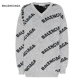 BALENCIAGA バレンシアガ Intarsia wool-blend sweater セーター グレー トップス 2018-2019年秋冬