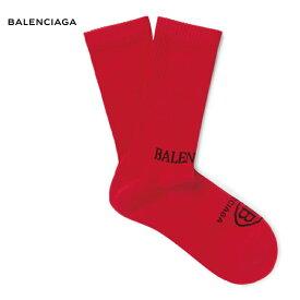 BALENCIAGA バレンシアガ Logo-Intarsia Ribbed Stretch Cotton-Blend Socks ソックス 靴下 レッド 2018-2019年秋冬