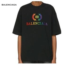 BALENCIAGA バレンシアガ 191342M213025 ブラック レインボー BB レギュラー フィット T シャツ トップス 2019年春夏