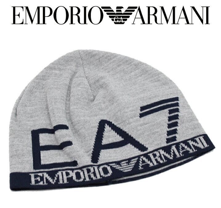 EMPORIO ARMANI エンポリオアルマーニ EA7 ニット帽 帽子 ニットキャップ 2015-2016年秋冬新作 5A393275560 6449 53 デカロゴツートン グレーブラック アクリル ギフト